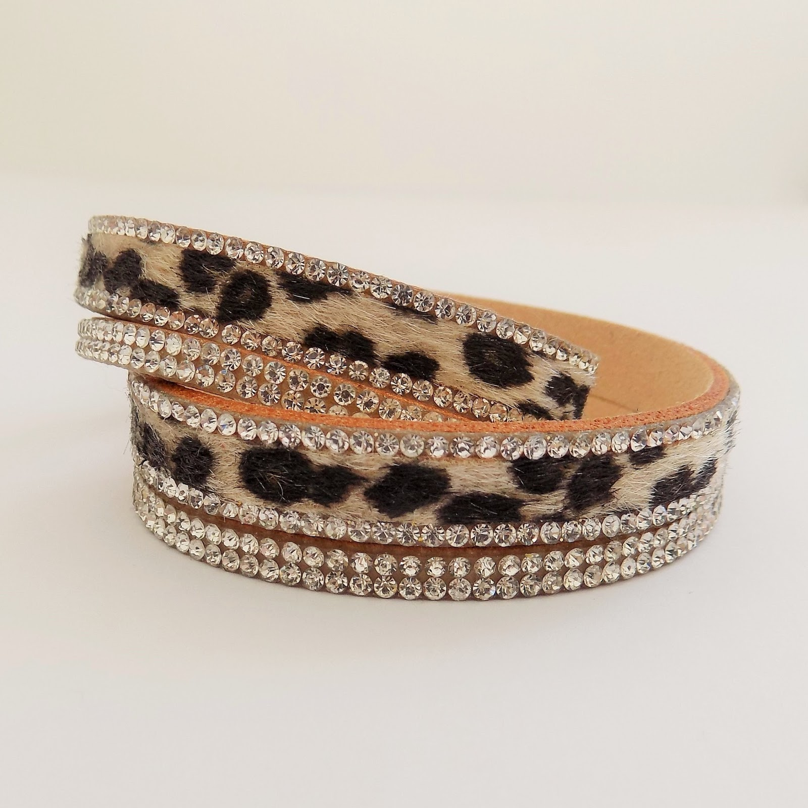 Leopard and diamante wrap bracelet, Lizzy O