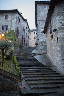 A typical staircase in medieval Gubbio
