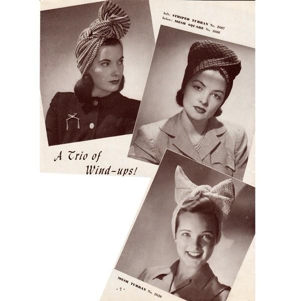 Three Crochet Hat Patterns, Vintage 1940s styled Turbans