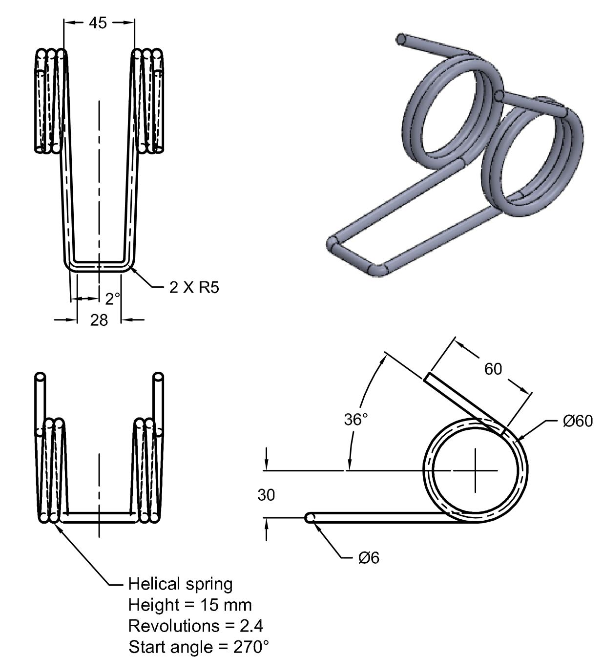CADArtifex: Creating Torsion Sprig using Composite curve