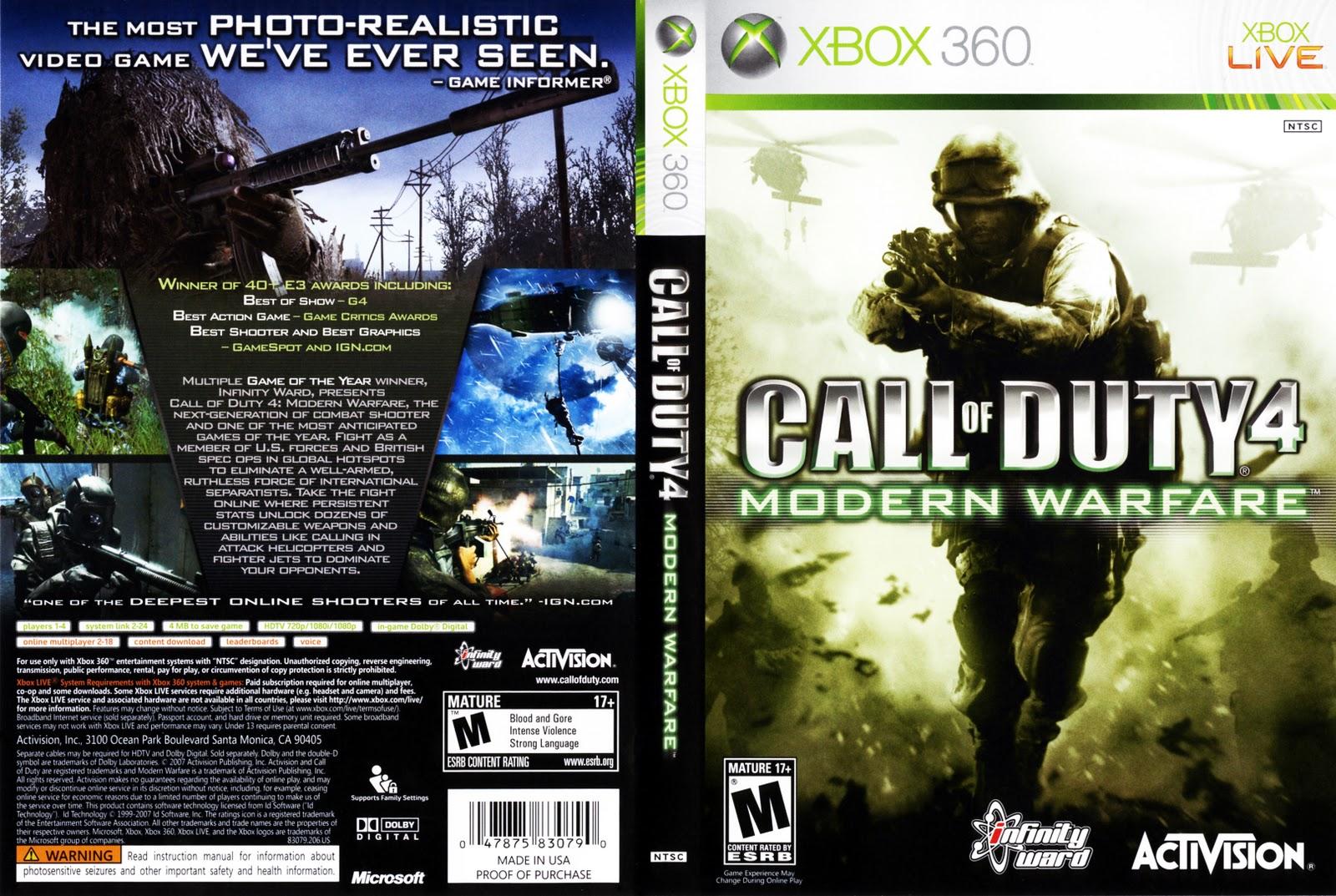 Xbox 360 Games (Call of Duty 2, Modern WF 2 & 4, Halo ...