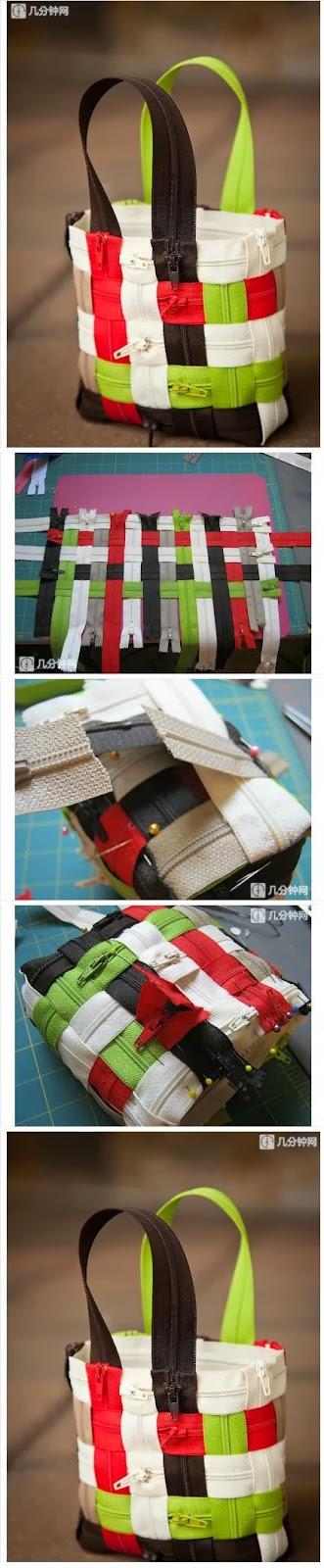 Сумка из застежки молнии.  Bag from zippers