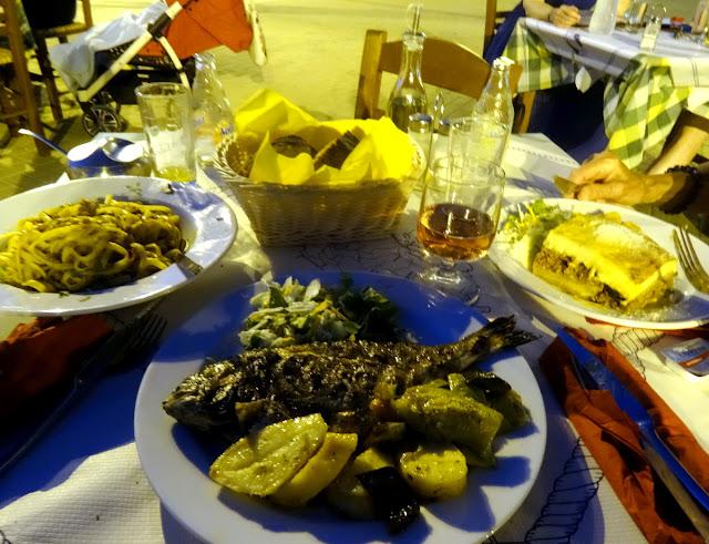 Dinner at Restaurant Miramare, Vasiliki