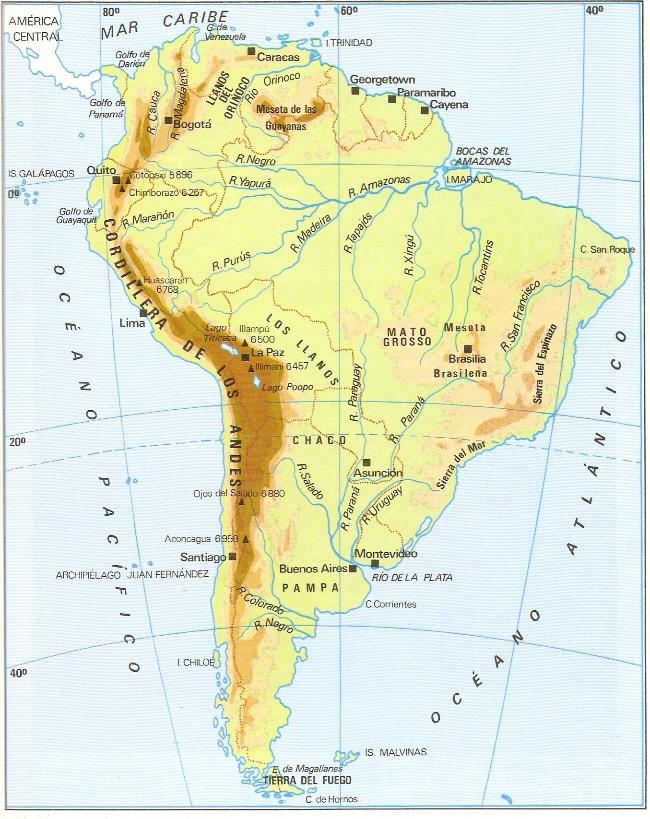 Desierto De Atacama Mapa America.Me Gustan Las Sociales America Mapa Fisico