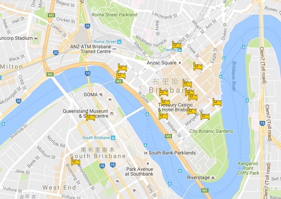 布里斯本-住宿-地圖-推薦-飯店-酒店-民宿-旅館-澳洲-Brisbane-hotel-apartment-recommendation-Australia