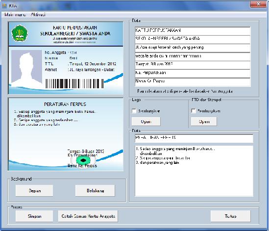 Software untuk membuat kartu anggota perpustakaan