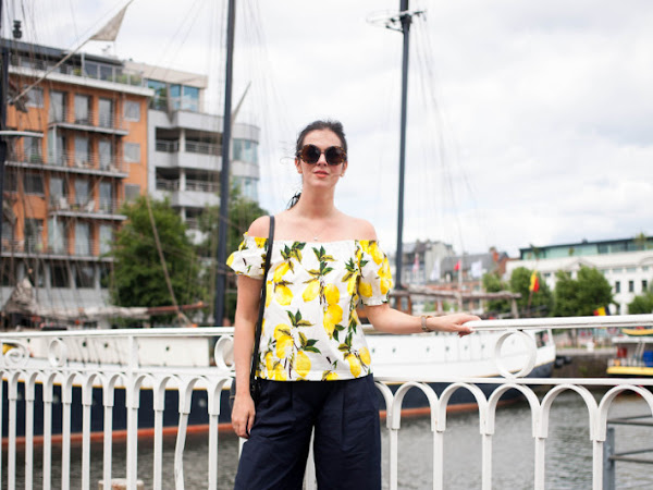 Outfit: lemon print off shoulder top and culottes