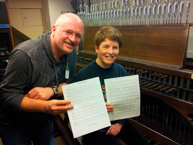 Pierre Massie and Andrea McCrady with their arrangements of Pierre composition Mourning Dove