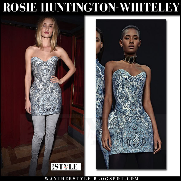 Rosie Huntington-Whiteley in blue printed balmain bodice and grey suede balmain boots what she wore party outfit
