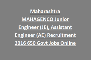 Maharashtra MAHAGENCO Junior Engineer (JE), Assistant Engineer (AE) Recruitment 2016 650 Govt Jobs Online