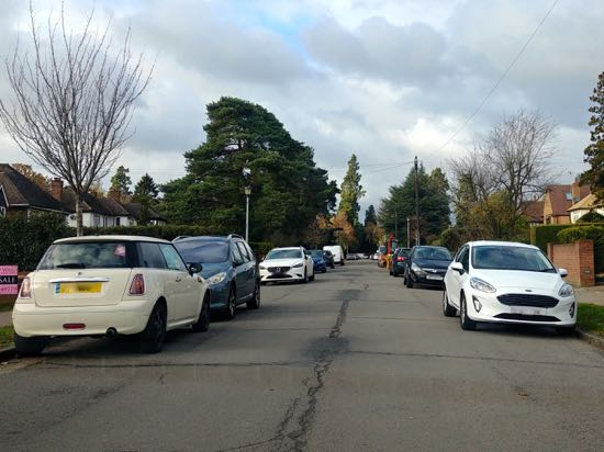 Photograph of Weekday parking close to the Chancellor's entrance on Pine Grove Image by North Mymms News, released under Creative Commons
