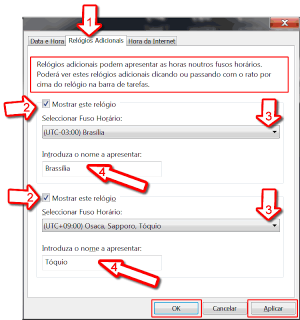 definir Fusos horários no Windows