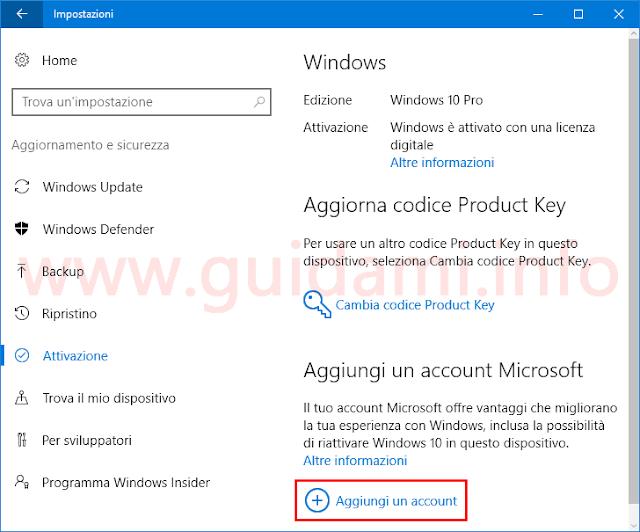 Attivazione Windows 10 Aggiungi account Microsoft