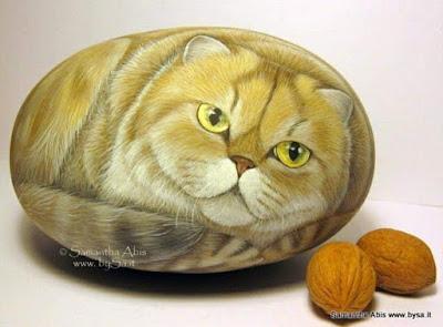 Come dipingere sui sassi gatto persiano