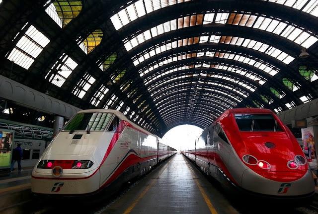 Sobre a viagem de trem de Pisa a Milão