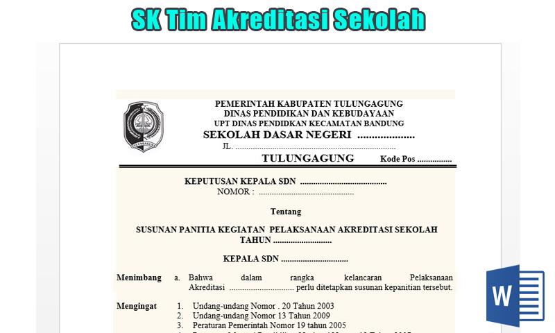 SK Tim Akreditasi Sekolah SD Terbaru 2017 Word