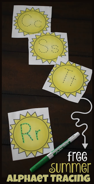FREE Summer Alphabet Tracing - these free printable cards are such a fun, EASY, and low prep way for preschool, kindergarten, and first grade kids to practice writing alphabet letters. The summer theme is perfect for centers, summer practice, home learning, and so much more. #summerlearning #alphabet #kindergarten