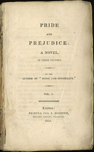 Title page from the first edition of the first volume of Pride and Prejudice