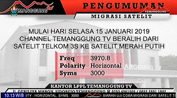 Frekuensi Temanggung TV Terbaru 2019 di Satelit Telkom 4