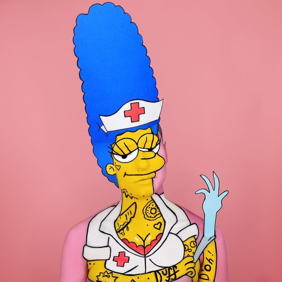 04-Nurse-Marge-The-Simpsons-Annie-Thomas-TV-Cartoon-Characters-on-Body-Painting-www-designstack-co