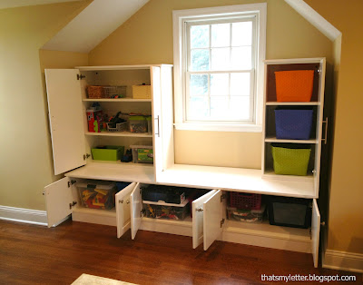 diy playroom built ins Ikea cabinet storage