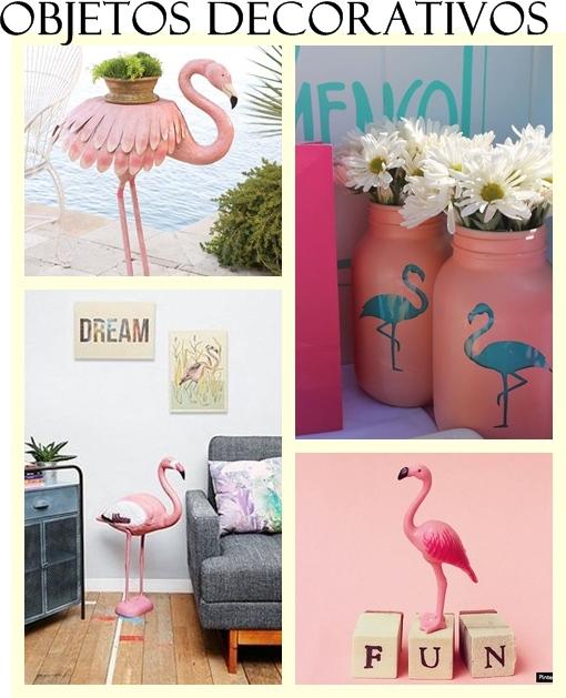 Objetos decorativos flamingos