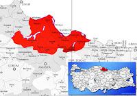 Samsun Ayvacık ilçesinin nerede olduğunu gösteren harita