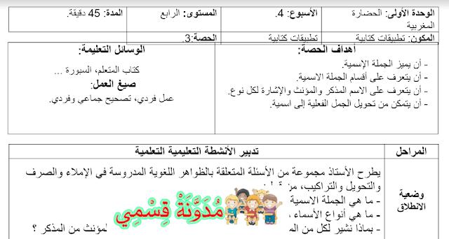 جذاذة التطبيقات كتابية المستوى الرابع الجديد في العربية للأسبوع الرابع