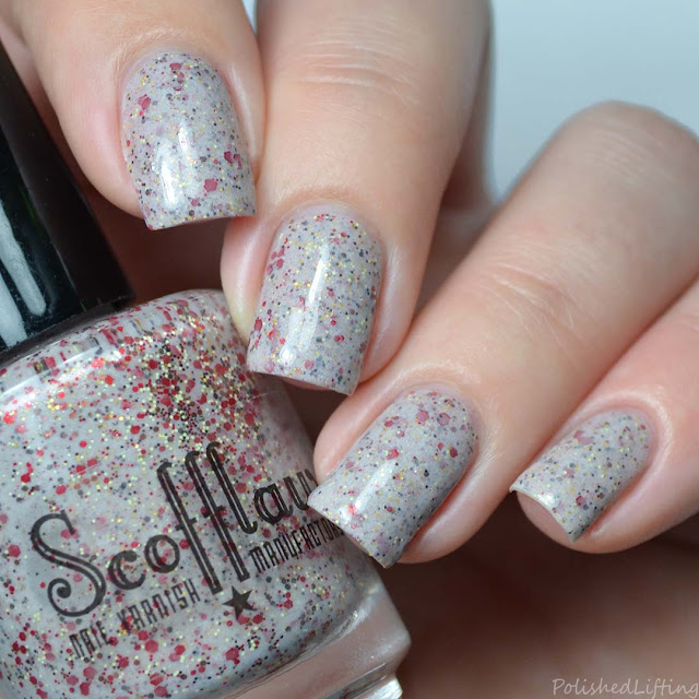 neutral crelly nail polish with glitter