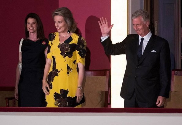 Queen Mathilde wore DRIES VAN NOTEN Print Silk-Crepe Midi Dress. Queen Elisabeth Singing Contest 2018 at the Brussels Centre for Fine Arts