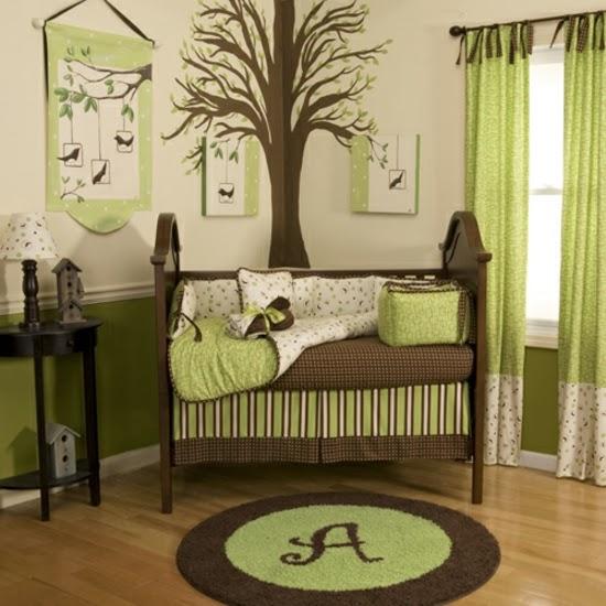 Dormitorios en verde y marrn para bebs  Ideas para