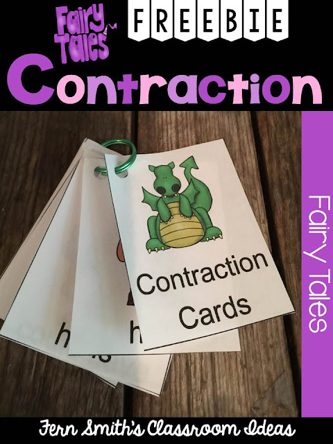 Fairy Tale Themed Contraction Center Game Card Freebie and Resources From Fern Smith's Classroom Ideas TeacherspayTeachers Store.