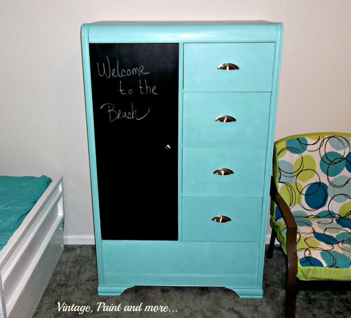 Vntage, Paint and more... thrifted armoir painted with chalk paint for a fun retro look for a teen bedroom