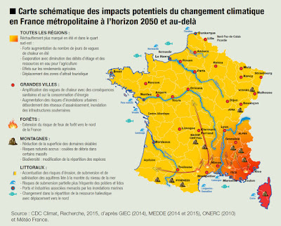 carte france réchauffement climatique horizon 2050