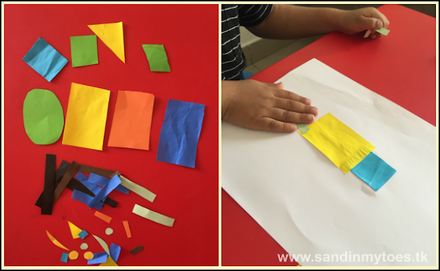 Making robots on paper with simple shapes.