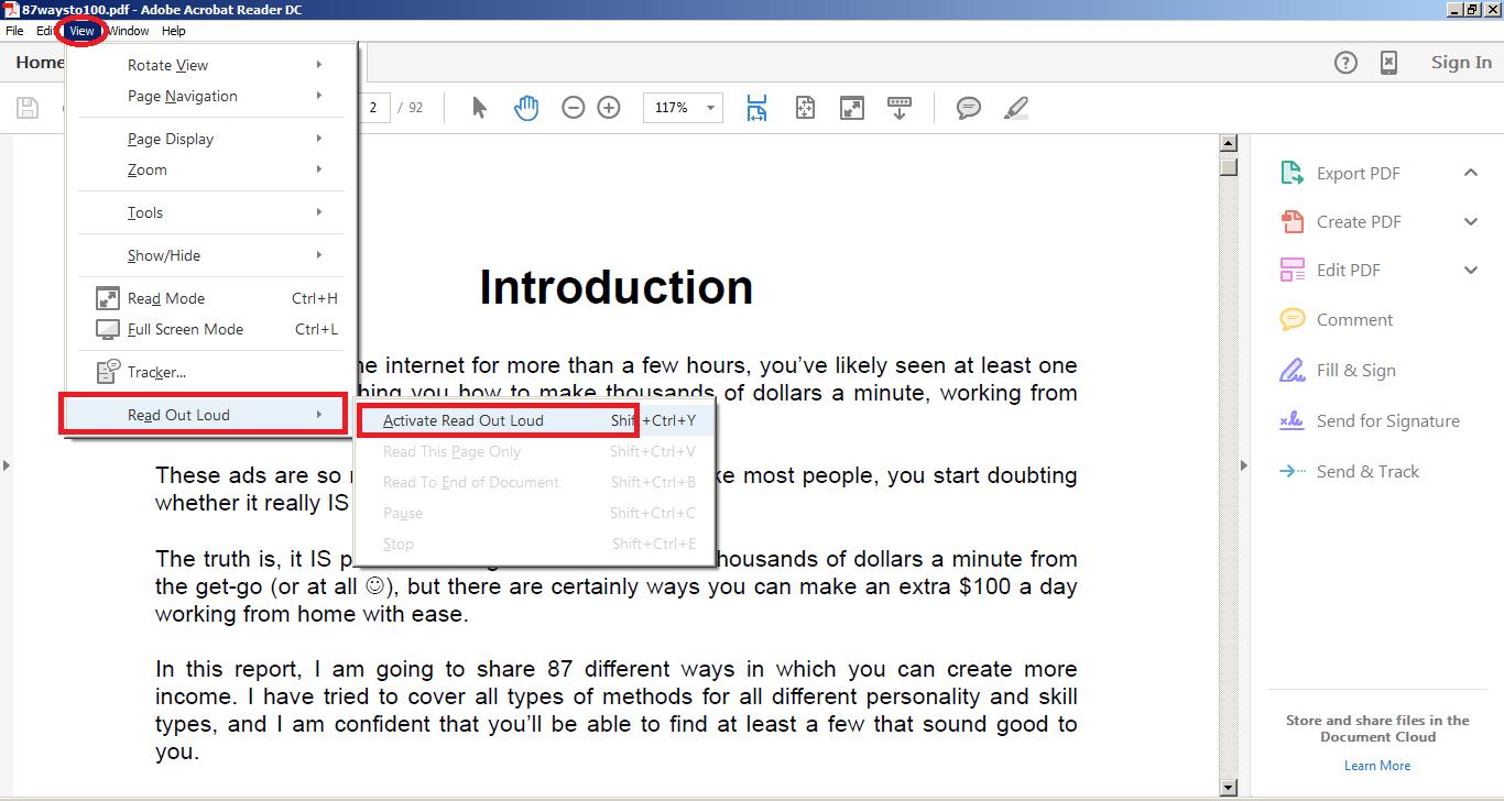 read accessibel pdf out loud