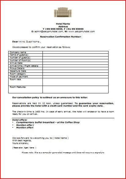 Reservation+confirmation+letter+format+for+hotels Official Receipt Letter Template on sample cash, landlord rent, free printable rent, blank rent, free general,