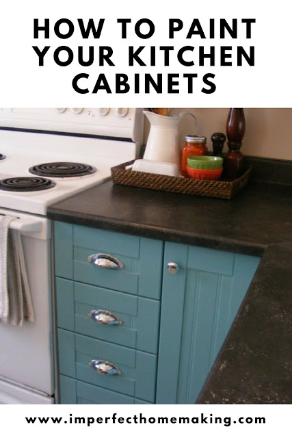 Painting cupboard turquoise