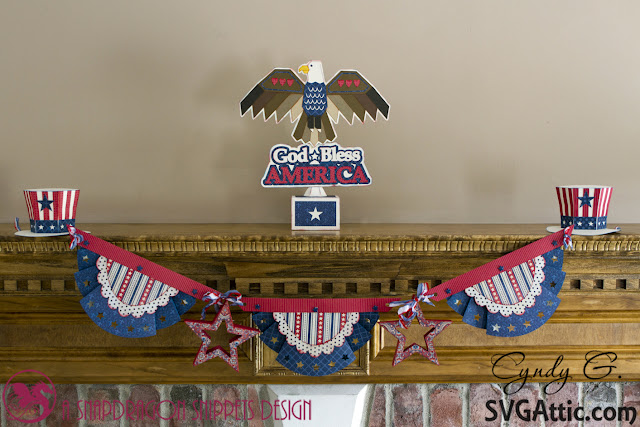 Star bunting with American Eagle and Uncle Sam Hat