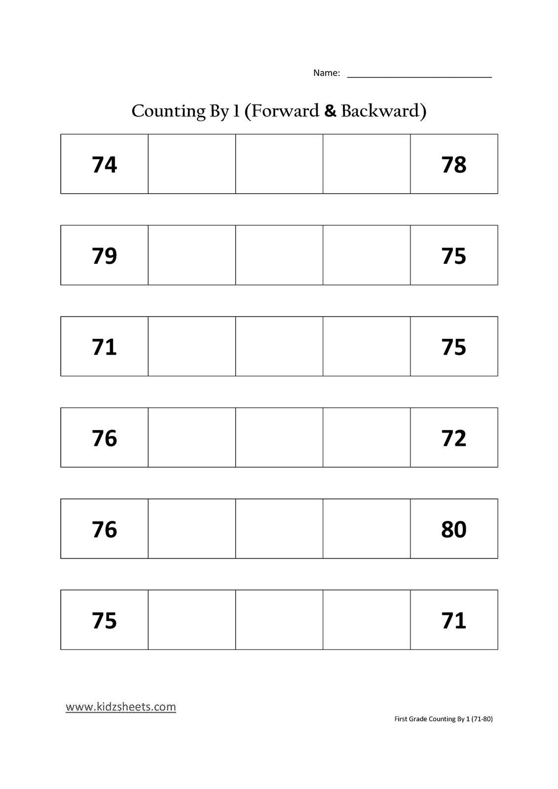 Kidz Worksheets: First Grade Counting by 1 (71-80)