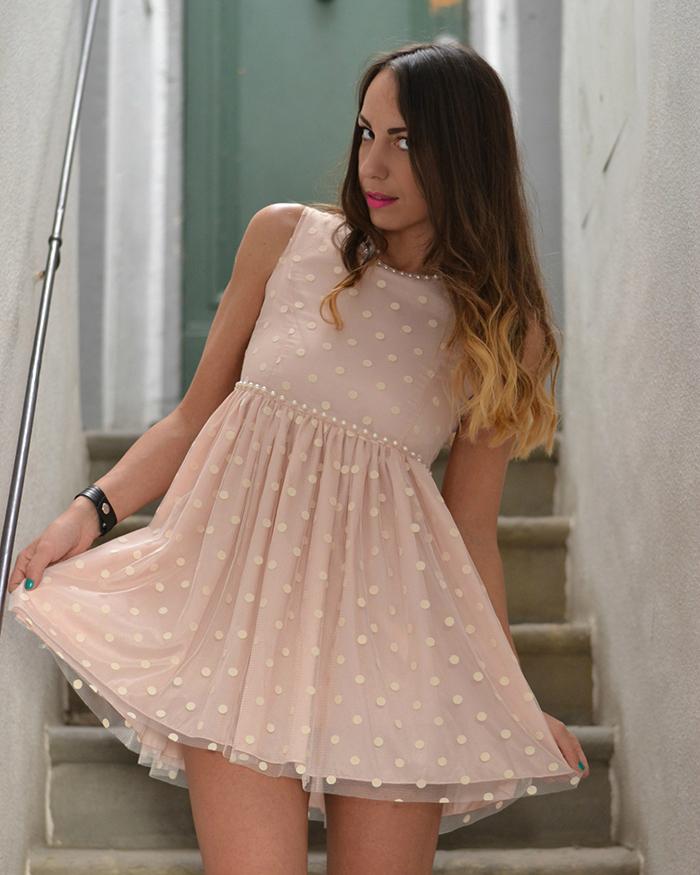 abito rosa cipria pois