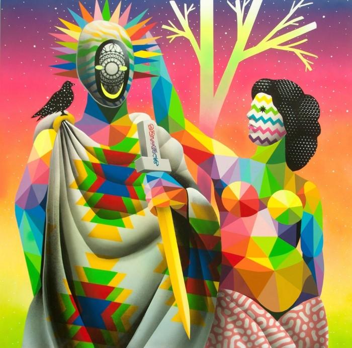 Разноцветные геометрические и узорные фигуры.