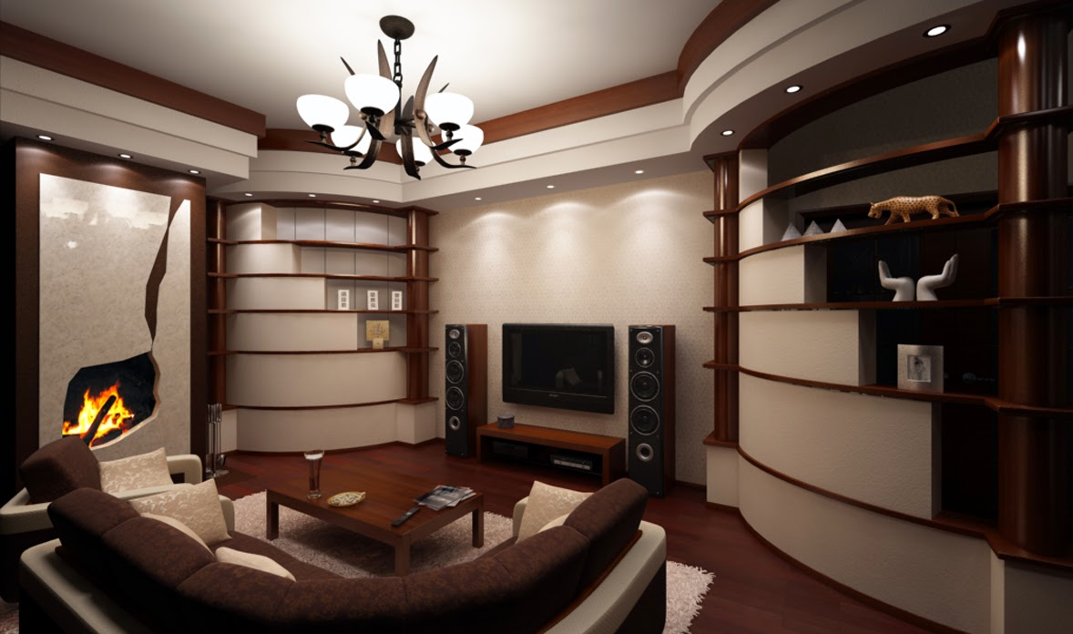 sala moderna marrón beige
