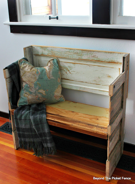 bench, entryway, old door, chippy paint, sander, salvaged wood, reclaimed, http://bec4-beyondthepicketfence.blogspot.com/2016/02/a-door-able-bench.html