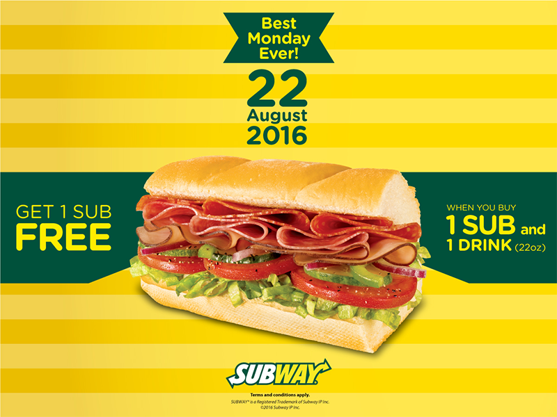 Subway Malaysia Buy 1 Free 1 Promotion 22 August 2016