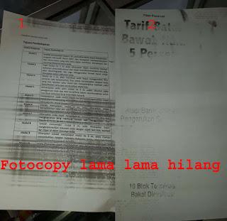 hasil fotocopy lama lama hilang