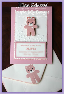 Decorated envelope, New Baby card, Powder Pink