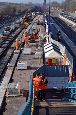 Network Rail altering the platforms at Barnetby station - February 2019 - see Nigel Fisher's Brigg Blog for more pictures