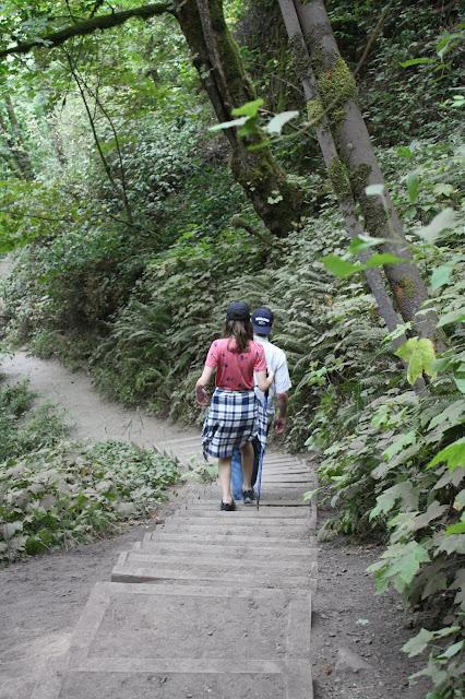 Taking the stairs at Bridal Veil Falls to enjoy amazing views!