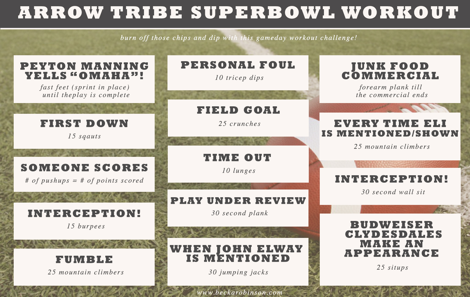 superbowl football game workout idea